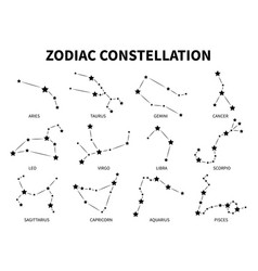 Zodiac constellation aries taurus gemini cancer vector