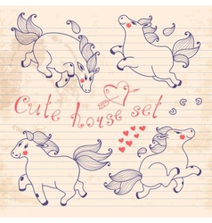 Drawing young horses on notebook sheet vector image