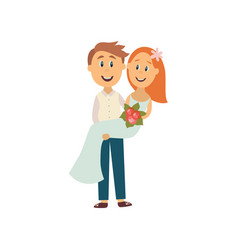 groom carrying bride holding in his arms vector image vector image