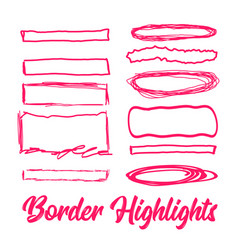 hand drawn highlighter elements borders vector image vector image
