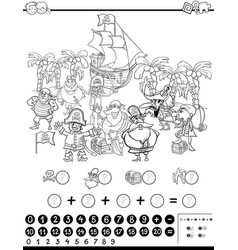 mathematical activity for coloring vector image
