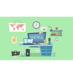 Work place Designer work space desk with vector image vector image