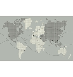 World map made out of small squares vector