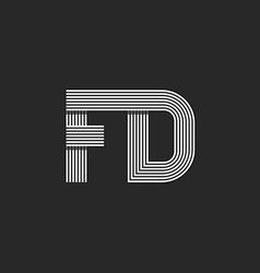 Combination letter fd together logo monogram vector