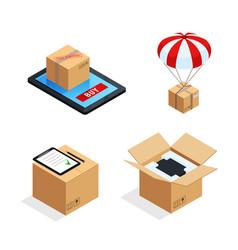 parcel delivery stages set vector image