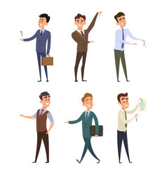 real estate agents selling different buildings vector image vector image
