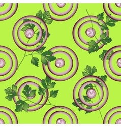 Slice purple onion with greenery vector