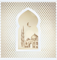 arabic window with the hand drawn sketch of moon vector image