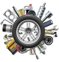 Car Spares Concept with Wheel vector image
