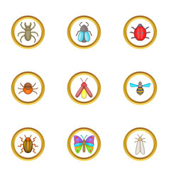 colorful insects icons set cartoon style vector image