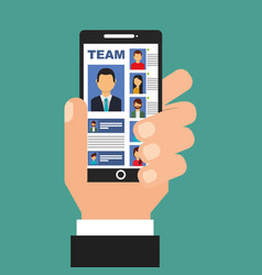 hand holding smartphone with team in screen people vector image