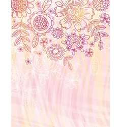 pink background with hand draw flowers vector image vector image
