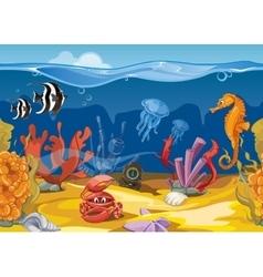 Seamless underwater landscape in cartoon style vector image vector image