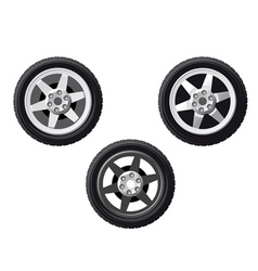 set of isolated wheels vector image