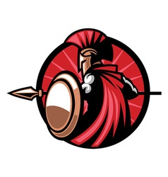 Spartan mascot with the spear weapon vector image