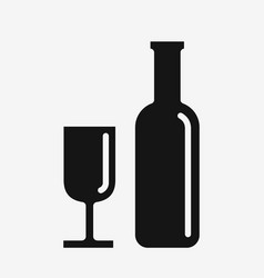 wine icon glass and bottle vector image