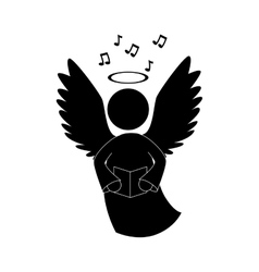 angel singing musical instrument icon vector image