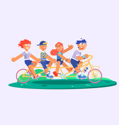 family tandem bicycle cartoon concept with parents vector image vector image
