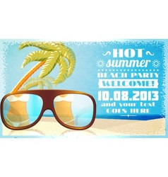 Summer beach party invitation glasses on the sand vector image vector image