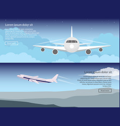travel on the plane set of banners in a flat style vector image vector image