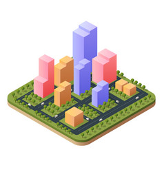 3d isometric city landscape of vector image