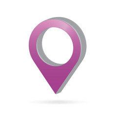 3d metal purple map pointer icon marker gps vector image