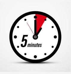 5 five minutes clock symbol vector
