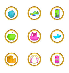 Aerobic icons set cartoon style vector