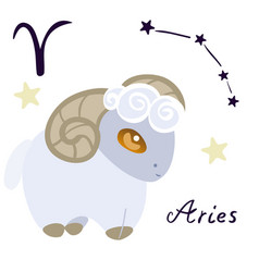 Aries zodiac sign in cartoon style isolate vector