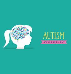 Autism awareness day girl head color brain banner vector