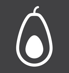 avocado solid icon fruit and tropical vector image