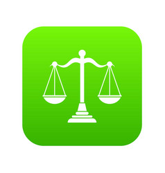 balance scale icon digital green vector image