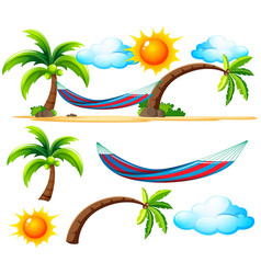 Beach items and scene on the beach vector