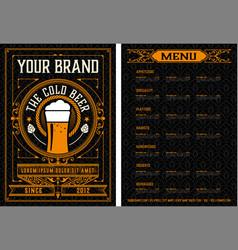 Beer menu vintage style vector