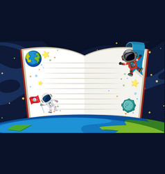 Book template with space theme background vector