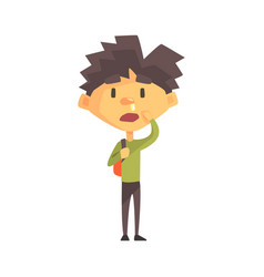boy in green sweater with running nose primary vector image vector image