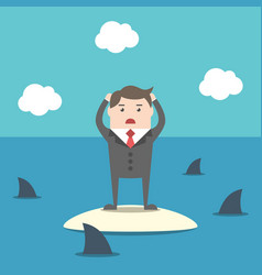 businessman among sharks vector image