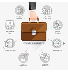Businessman hand holding briefcase bag vector