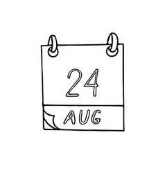 Calendar hand drawn in doodle style august 24 vector