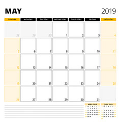 Calendar planner for may 2019 stationery design vector