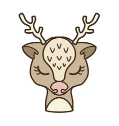 cartoon christmas deer design element for logo vector image