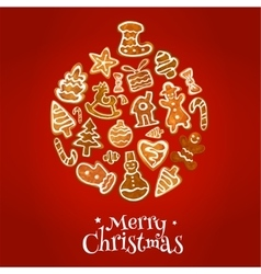 christmas ball symbol with gingerbread cookie vector image