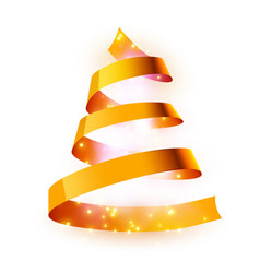 christmas tree made golden ribbon background vector image