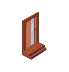 closed wooden door of residential house with vector image