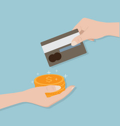 credit card in hand change to money vector image
