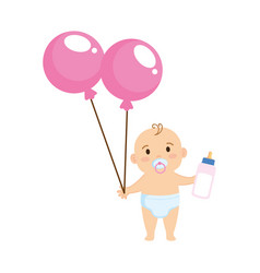 Cute and little boy bawith balloons helium vector