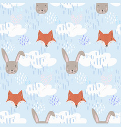 cute cartoon pattern with fox hare and clouds vector image