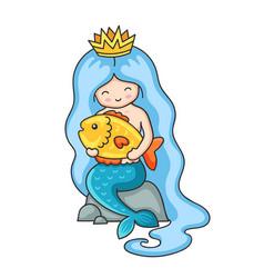 Cute little mermaid with long blue hair sitting vector