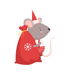 Cute mouse with big sack christmas gifts cute vector