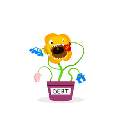 Debt tree eatting your saving money and asset vector